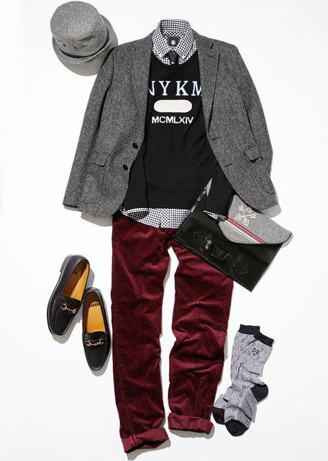 ツイードジャケットにチェックシャツ×赤のベロアパンツ