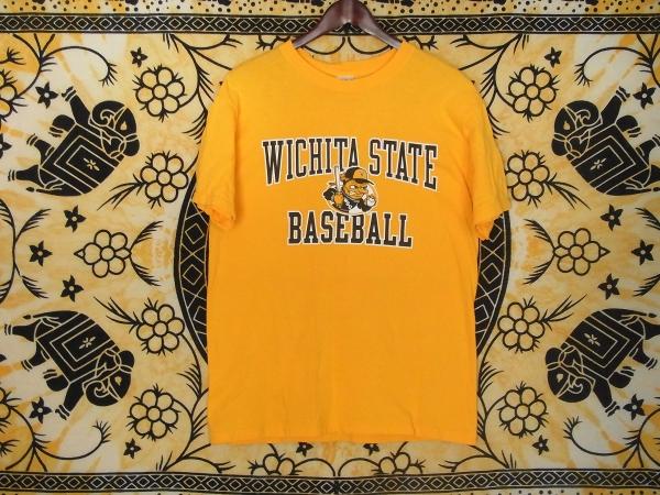 USA古着プリントTシャツM黄色WICHITA STATE野球片面綿100極美品