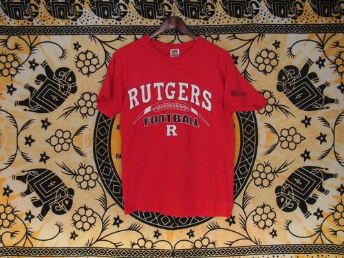 USA古着プリントTシャツM赤RUTGERS片面綿100美品