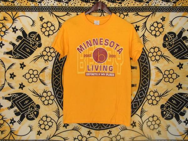 USA古着プリントTシャツS黄色MINNESOTA LIVING両面 綿100極美品