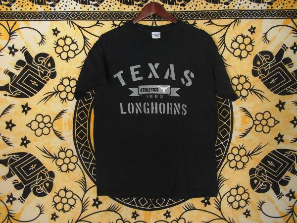 USA古着プリントTシャツM黒TEXAS大学LONGHORNS片面50/50極上