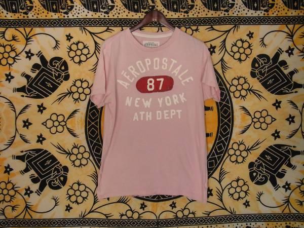 USA古着AEROPOSTALEエアロポステールワッペン刺繍プリントTシャツMピンク片面綿100美品ビンテージ加工